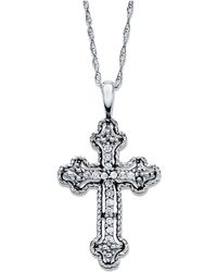 Macy's - Diamond Antique Cross Pendant Necklace In 14k White Gold (1/10 Ct. T.w) - Lyst
