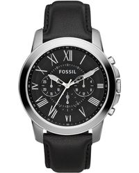 Fossil - Men's Chronograph Grant Black Leather Strap Watch 44mm Fs4812 - Lyst