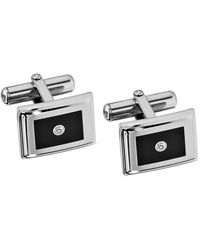 Macy's - Stainless Steel Cuff Links, Diamond Accent And Black Enamel Cuff Links - Lyst