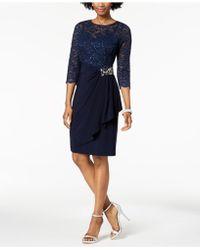 Alex Evenings - Embellished Lace-contrast Dress Regular & Petite Sizes - Lyst
