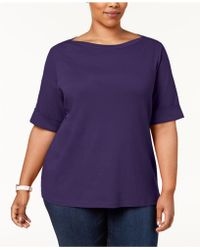 Karen Scott - Plus Size Cotton Cuffed-sleeve Top, Created For Macy's - Lyst