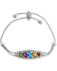 Effy Collection - Multi-gemstone Bolo Bracelet (4-7/8 Ct. T.w.) In Sterling Silver & 18k Gold - Lyst