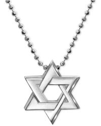 Alex Woo | Star Of David Beaded Pendant Necklace In Sterling Silver | Lyst