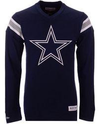 Mitchell   Ness - Dallas Cowboys Team Captain V-neck Long Sleeve T-shirt f08696fd4