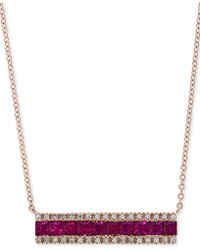 "Effy Collection - Effy® Ruby (1-1/4 Ct. T.w.) & Diamond (1/8 Ct. T.w.) Horizontal Bar 18"" Pendant Necklace In 14k Rose Gold - Lyst"