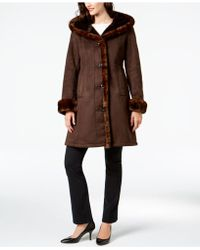 Jones New York - Faux-fur-trim Coat - Lyst