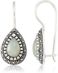 Macy's - Jade (9 X 6 X 5.2mm) & Marcasite Teardrop Earrings In Sterling Silver - Lyst