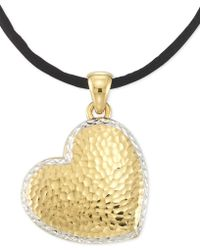 "Signature Gold - Tm Textured Reversible Silk Cord Heart 18"" Pendant Necklace In 14k Gold Over Resin Core - Lyst"