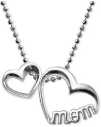 "Alex Woo | Double Heart ""mom"" Pendant Necklace In Sterling Silver 