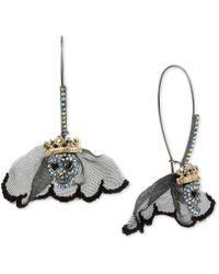 Betsey Johnson - Two-tone Crystal & Lace Skull Bride Drop Earrings - Lyst