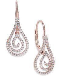 Macy's - Diamond Spiral Teardrop Drop Earrings (1/4 Ct. T.w.) In 10k Rose Gold - Lyst