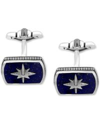 Effy Collection - Men's Lapis Lazuli (16-1/2 X 12mm) Starburst Cuff Links In Sterling Silver And Black Rhodium - Lyst