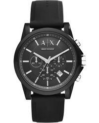 Armani Exchange - Unisex Chronograph Black Silicone Strap Watch 44mm Ax1326 - Lyst