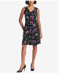 Tommy Hilfiger - Belted Floral A-line Dress - Lyst