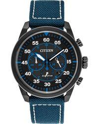 Citizen - Men's Chronograph Avion Blue Nylon Strap Watch 45mm Ca4215-39e - Lyst