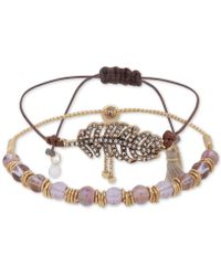 Lonna & Lilly - Gold-tone Crystal Feather Bead And Cord Bolo Bracelet, Created For Macy's - Lyst