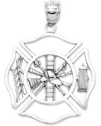 Macy's - 14k White Gold Charm, Fireman Shield Charm - Lyst