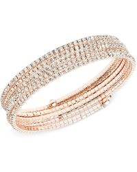 Anne Klein - Silver-tone Multi-row Rhinestone Flex Bracelet - Lyst