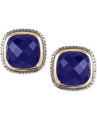 Effy Collection - Lapis Lazuli Stud Earrings (2-3/4 Ct. T.w.) In Sterling Silver And 18k Gold - Lyst