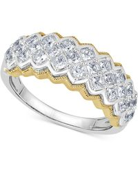 Macy's - Diamond Two-tone Pyramid Band (1 Ct. T.w.) In 14k Gold & White Gold - Lyst