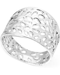 Touch Of Silver - Silver-plated Patterned Cutout Ring - Lyst