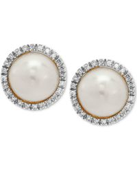 Macy's | Cultured Freshwater Pearl (8mm) & Diamond (1/8 Ct. T.w.) Halo Stud Earrings In 10k Gold | Lyst