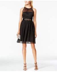 Adrianna Papell - Belted Chiffon Halter Dress - Lyst