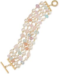 Carolee - Gold-tone Imitation Pearl And Beaded Toggle Bracelet - Lyst