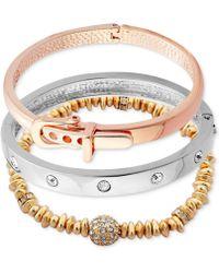 Guess - Tri-tone 3-pc. Set Crystal, Bead & Buckle Bracelets - Lyst