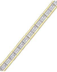 Macy's - Diamond Accent Link Bracelet In 18k Gold-plate & Silver-plate - Lyst