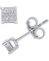 Macy's - Diamond Princess Quad Cluster Stud Earrings (1/10 Ct. T.w.) In 14k White Gold - Lyst