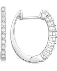 Macy's - Diamond Hoop Earrings (1/4 Ct. T.w.) In 14k White Gold - Lyst