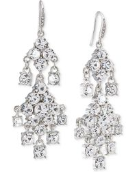 Carolee - Silver-tone Crystal Double-drop Chandelier Earrings - Lyst