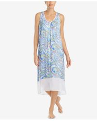 Ellen Tracy - Printed Chiffon-hem Nightgown - Lyst