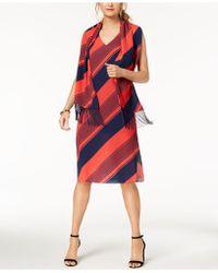 Donna Ricco - Striped Shift Dress & Scarf - Lyst