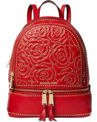 21ce671c0ea6 MICHAEL Michael Kors - Rhea Medium Rose Studded Leather Backpack - Lyst