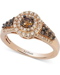 Le Vian - Chocolate Diamond And White Diamond Halo Ring (3/4 Ct. T.w.) In 14k Rose Gold - Lyst