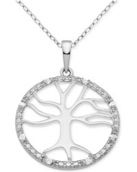 """Macy's - Diamond Tree Of Life 18"""" Pendant Necklace (1/10 Ct. T.w.) In Sterling Silver - Lyst"""