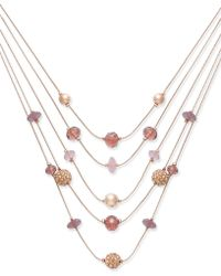 INC International Concepts - Rose Gold-tone Bead & Fireball Multi-layer Necklace - Lyst