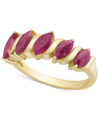 Macy's - Multi-gemstone Marquise Band (1-1/10 Ct. T.w.) In 18k Gold-plated Sterling Silver (also Available In Emerald, Ruby Or Sapphire) - Lyst