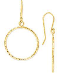 Giani Bernini - Textured Drop Hoop Earrings In 18k Gold-plated Sterling Silver - Lyst