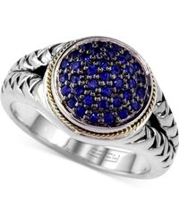Effy Collection - Sapphire (3/8 Ct. Tw.) And Diamond (1/8 Ct. T.w.) Rope Ring In Sterling Silver And 18k Gold - Lyst