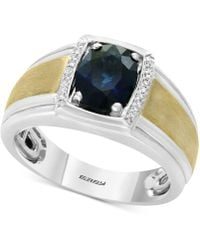 Effy Collection - Men's Sapphire (1-7/8) & Diamond Accent Ring In Sterling Silver And 14k Gold - Lyst