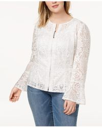 INC International Concepts - I.n.c. Plus Size Lace Illusion Jacket, Created For Macy's - Lyst