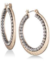 Nine West - Pavé Double-row Hoop Earrings - Lyst