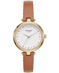 Kate Spade - Women's Holland Brown Leather Strap Watch 34mm - Lyst
