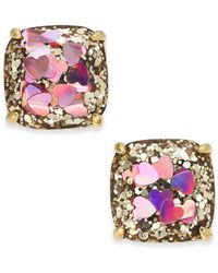 Kate Spade - Gold-tone Heart Glitter Square Stud Earrings - Lyst