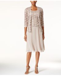 R & M Richards - R&m Richards Sequined Lace Chiffon Dress And Jacket - Lyst