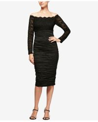 Alex Evenings - Ruched Lace Off-the-shoulder Dress - Lyst