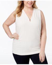 Anne Klein - Plus Size Keyhole V-neck Shell - Lyst